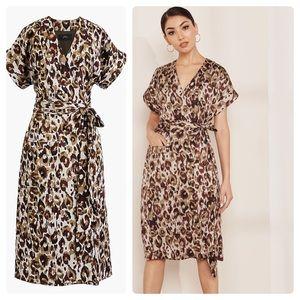 J Crew Short-sleeve wrap dress in leopard satin